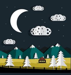 night landscape paper cut trees and clouds vector image