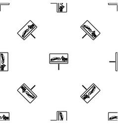 no parking sign pattern seamless black vector image