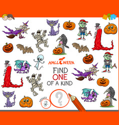 one of a kind game with halloween characters vector image