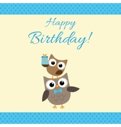 Party owls blue card vector