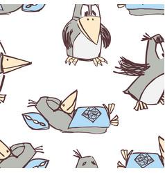 Pattern funny cartoon crows vector