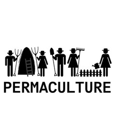 permaculture concept with farmers using vector image
