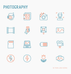 Photography thin line icons set vector