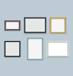 picture frames realistic modern wood empty vector image