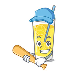 Playing baseball lemonade character cartoon style vector