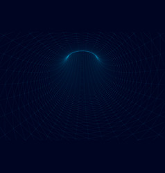 polygonal tunnel blue lines on a dark vector image
