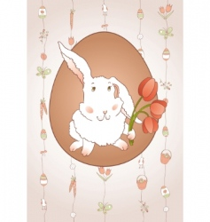rabbit with tulips vector image