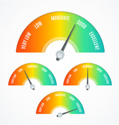 Realistic detailed 3d rating feedback meter set vector