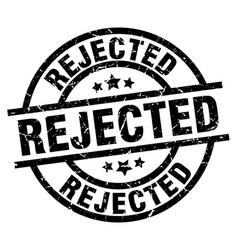 rejected round grunge black stamp vector image