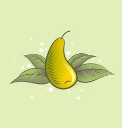 ripe pear fruit and leaves vector image