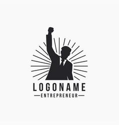 Rising hand entrepreneur business man logo icon vector
