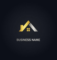 Roof house realty gold logo vector