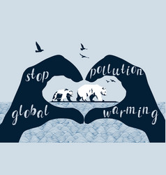 Save polar bears concept global warming vector