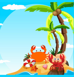 Scene with crab and hermit crab on island vector