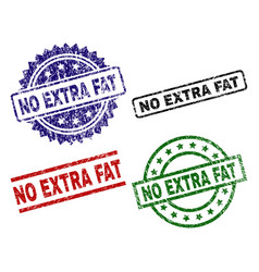 Scratched textured no extra fat seal stamps vector