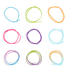 scribble circle set set in drawn style sketch vector image