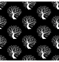 Seamless pattern background black and white tree vector