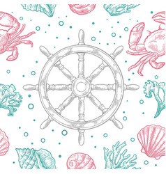 Seamless pattern sea shell coral crab and wheel vector