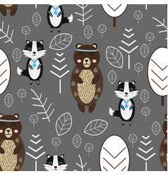 Seamless pattern with bear and badger in forest sc vector