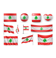 Set lebanon flags banners banners symbols flat vector