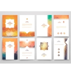 Set of brochures in poligonal style on Autumn vector
