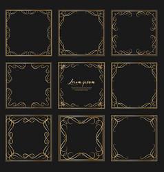 set of golden dividers vintage frames vector image