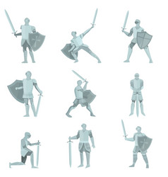 set of knights in gray steel armor with hand axes vector image