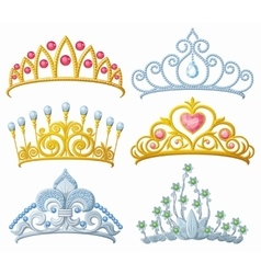 set princess crowns tiara isolated on white vector image