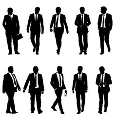 Set silhouette businessman man in suit with tie on vector