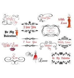 set valentines headlines vector image