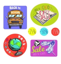 Sketch Back To School Logo Set vector