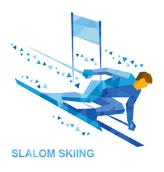 slalom skiing cartoon skier running downhil vector image