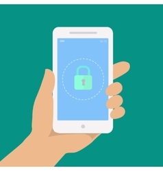 Smartphone lock screen Hand hold smartphone vector image