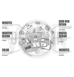 Stylish composition on topic web design vector