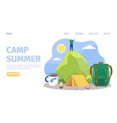 Summer camp at mountain man vector
