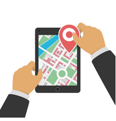 tablet with gps navigation vector image