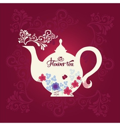 Teapot with flowers vector
