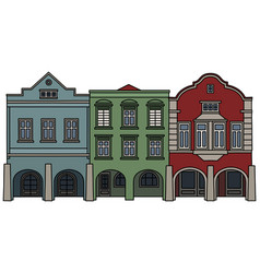 Three historical burger houses vector