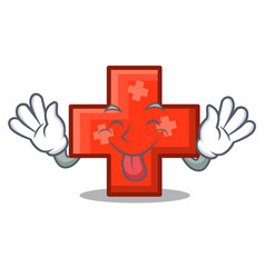 tongue out cross mascot cartoon style vector image