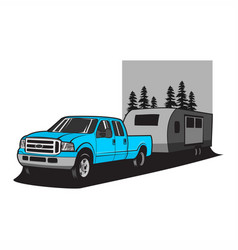 Truck pulling camper vector