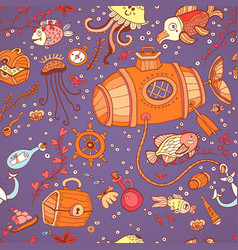 Underwater doodle seamless pattern vector