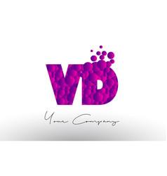 Vd v d dots letter logo with purple bubbles vector