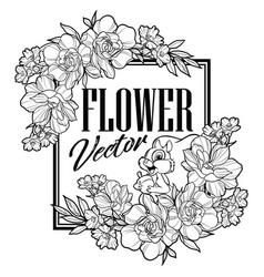 vintage frame flower squirrel black vector image