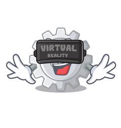 Virtual reality gear settings mechanism on mascot vector