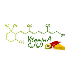 Vitamin a with food label and icon chemical vector