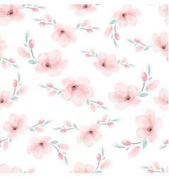 watercolor pink sakura or cherry blossom flower vector image