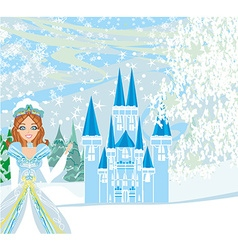 Winter landscape with castle and beauty queen vector