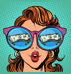 woman with sunglasses money dollars in reflection vector image