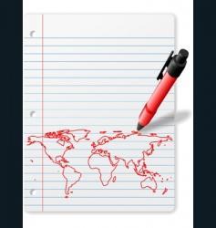 world map drawing vector image
