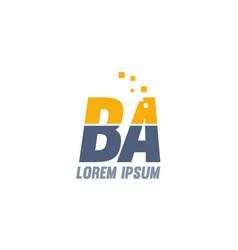 Yellow blue ba b a alphabet letter logo company vector